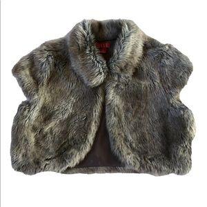 Elle Bolero Sweater Faux Fur Lined in Gray, S.